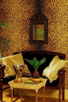 Leopard Dark Brown Animal Print Wallpaper