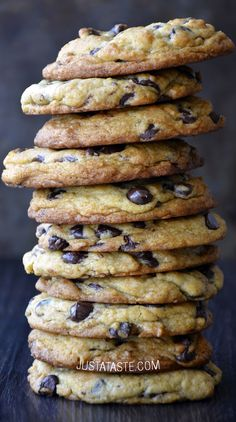 Secret Ingredient Chocolate Chip Cookies recipe via justataste.com