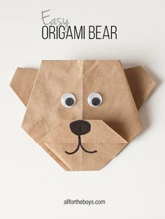 Origami Bear + Disneynature's BEARS printables Fold a brand new friend with this origami bear craft.Fold a brand new friend with this origami bear craft. Diy Origami, Origami Simple, Easy Origami For Kids, Origami Tutorial, Origami Paper, Diy For Kids, Crafts For Kids, Oragami, Bear Origami