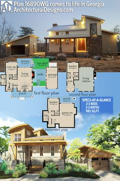 Architectural Designs House Plan #16890WG client-built in Georgia in reverse layout. Ready when you are! Where do YOU want to build? #adhouseplans #architecturaldesigns #houseplan #architecture #newhome #newconstruction #newhouse #homedesign #dreamhome #dreamhouse #homeplan #architecture #architect #housegoals #Modernhome #modernhouse