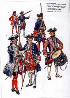 French;Gardes Francaises 1740s & 50s; 1.Officer Full Dress. 2.Officer Undress. 3. Privates. 4.Drummer
