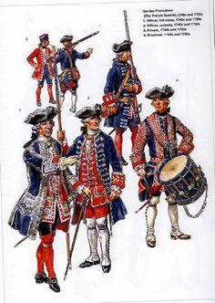 French;Gardes Francaises 1740s & 50s; 1.Officer Full Dress. 2.Officer Undress. 3. Privates. 4.Drummer