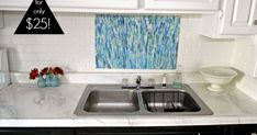 DIY faux marble countertops: How to paint laminate counters to look like marble.