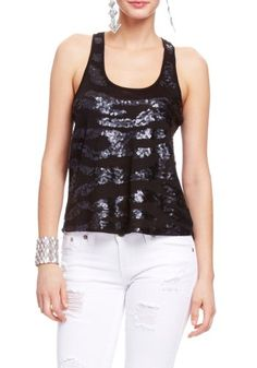 Save $9.95 on 2B Sequin Wave Chiffon Back Tank Top; only $15.00 + Free Shipping