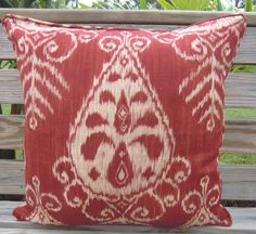 Items similar to Red ikat pillow cover, medallion pillow case in red, ikat accent pillow cover , designer pillow Duralee with piping on Etsy. , via Etsy. Chair Pillow, Lumbar Pillow, Ikat Pillows, Bedroom Curtains, Home Decor Fabric, Designer Pillow, Tribal Prints, Rustic Chic, Ten