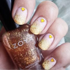 pink yellow gradient nails golden flakies zoya