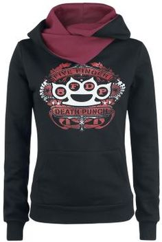 "Five Finger Death Punch Hooded sweater, Women ""Banner"" black-red • EMP"