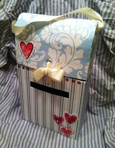 Valentine Mailbox: Cereal Box, Scrapbook Paper, Ribbon, Stickers