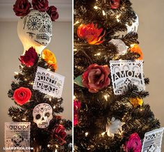 @liag adorned the black foliage with colorful paper roses & intricately cut paper banners. A life-sized candy skull is the perfect tree topper.
