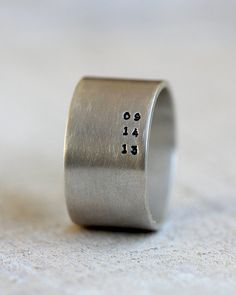 Mens personalized ring. Sterling silver custom band for men or women. This wide band ring can be handstamped with a personalized date, name, or
