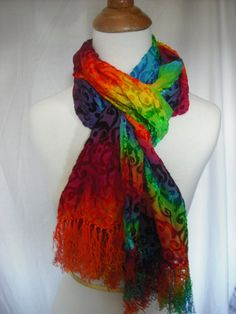 Silk and velvet tie-dye scarf...love the bright colors! (DoYouDreamOutLoud on Etsy)