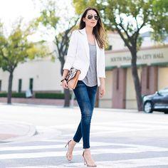 Dots and Honey - White Blazer, Zara Moto Jeans, Stuart Weitzman nude sandals
