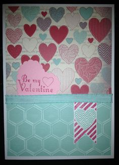 Valentines Day Card using Stampin' Up! products. Hearts a Flutter die and stamp bundle, More Amore DSP, Core'dinations card stock, honeycomb embossing folder, ruffled ribbon and stampin' pads.