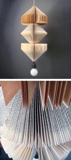 Reciclar viejos libros haciendo una lámpara de suspensión/ Recycle old books making a pendant lamp  #recycle design