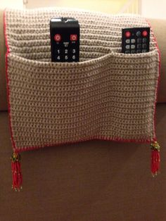 Crochet remote holder with bead tassel