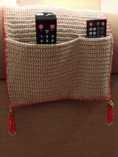 Crochet remote holder with bead tassel