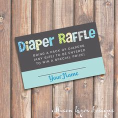 Funky Letters - Boy - Baby Shower Diaper Raffle Tickets - INSTANT DOWNLOAD
