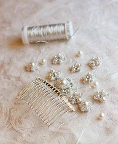 The designer of Edera Handcrafted Lace Jewelry makes all her lace by hand and uses vintage beading and crystals to create her one of a kind masterpieces. This comb made with silver metallic threading is magical. I'm honored to carry her collection at Allyson James!