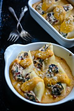 - For more information visit: http://www.scalingbackblog.com/savory-bites/ricotta-stuffed-shells-with-butternut-squash-sauce/