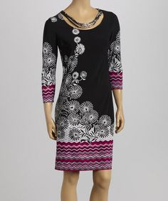 Look what I found on #zulily! Black & White Falling Daisy Shift Dress #zulilyfinds