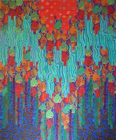 """Lori Q. AllisonKaffe Fassett Collective. Another quilt from the Colorific book; I'm calling this one """"Fish School!"""""""