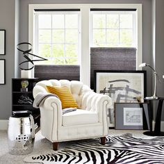 There is something yummy about yellow and gray.  Fun zebra rug.