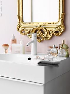 Pink and golden bathroom and it's from IKEA!