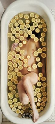self portrait in tub with lemon slices   -lee price (oil on linen)