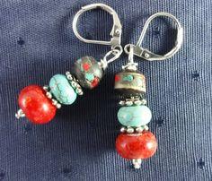 Tibetan Earrings of Hand Carved bone Coral by GemstoneJewelrybyVal, $18.00