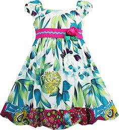 FL43 Sunny Fashion Girls Dress Flower Traditional Chinese Painting Style Green Size 6 ** For more information, visit image link.