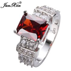 JUNXIN Geometric Design Red Rings For Men And Women White Gold Filled Wedding Jewelry Vintage Rings For Party