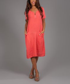 Look at this Coral Ruth Linen T-Shirt Dress on #zulily today!