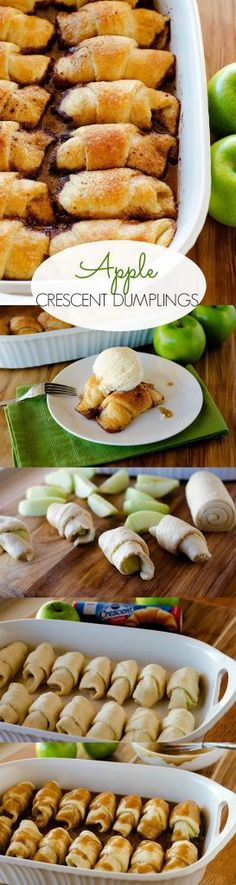 Flaky crescent dough wrapped around apple slices then baked in a cinnamon-sugar mixture. Green Apple Recipes, Apple Dessert Recipes, Fruit Recipes, Brunch Recipes, Fun Desserts, Fall Recipes, Delicious Desserts, Cooking Recipes, Yummy Food