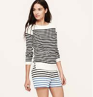 """Petite+Striped+Knit+Riviera+Shorts+with+3+1/2+Inch+Inseam+-+A+soft+cotton+knit+pair+pops+with+two-hue+stripes.+Side+zip+with+two-button+closure.+Back+button-through+welt+pockets.+3+1/4""""+inseam."""