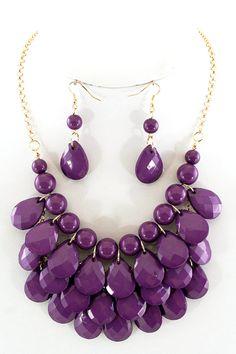 Layered Teardrop Necklace Set in purple