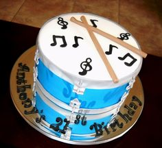 Place on mirrored display order topper Drum Cake, Guitar Cake, Drum Birthday Cakes, Best Birthday Surprises, Music Cakes, Sweet 16 Cakes, Party Themes For Boys, Cakes For Boys, Cupcake Cookies
