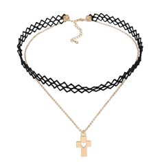 Lace Tattoo Choker Gold Gothic Delicate Heart Cross Pendant Choker Double Layer Necklace For Women -- Awesome products selected by Anna Churchill