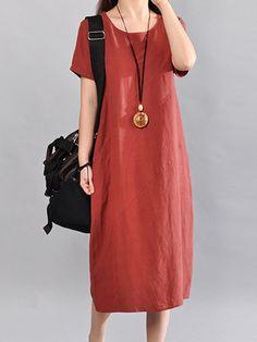 Women Linen Solid A-line Pockets Crew Neck Summer Casual Midi Dress