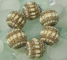Cream and Gold Beaded Beads by SilverBirchOriginals