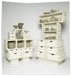 pulp projects: recycled paper pots, planks, shelves by Debbie Wijskamp Eco Furniture, Cardboard Furniture, Furniture Making, Furniture Design, Pallet Crates, Wooden Crates, Wood Pallets, Pallet Art, Pallet Projects