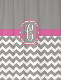 Shower Curtain - Cool Gray Half Chevron Want it customized with navy blue instead of pink