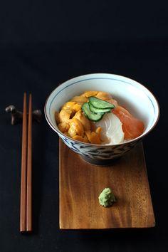 Donburi - Salmon and kanpachi sashimi with creamy uni (sea urchin) piled over homemade sushi rice.
