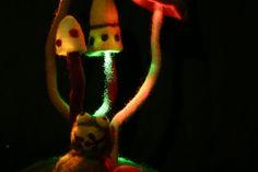 Felted handmade mushroom fungi lamps shade children's room light night lights fantasy lamp frog and moss