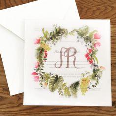 Convite de casamento na praia com ilustração de aquarela em papel vegetal ( Convite: Gráfica Valentim )