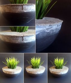 Artisan+poured+concrete+planter+with+faux+grass.+Perfect+for+indoor+or+outdoor+use.+Industrial+meets+modern.+Troweled+top+featuring+dents+and+cracks+in+all+the+right+places.+No+two+will+ever+be+alike.+Super+unique.