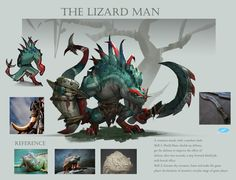 ArtStation - Design of the monster-The lizard man, Xuexiang Zhang