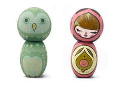 Artist Wooden Dolls – Kokeshi Art Dolls – Wood Illustration Inpsiration | Small for Big