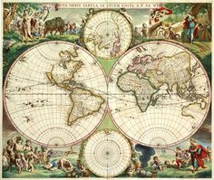 """""""NOVA ORBIS TABVLA, IN LVCEM EDITA,"""" Frederico de Wit, 1670. This spectacular map of the world by de Wit is one of the most attractive of its time. The beautifully composed scenes in the corners combine images of the four seasons, the elements, and the signs of the zoadiac in a balanced and naturalistic way. The map appeared in atlases published by De Wit and also in composite atlases by Visscher, Jansson's heirs, and others. (Rodney W. Shirley, The Mapping of the World)."""