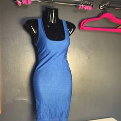 BEBE Bondage dress  ** Gorgeous royal Blue BEBE bodycon! Super sexy. Form fitting to your shape, *Hugs your Curves* - stretch material. Backless, cut out circle *As shown in pictures* great condition!!! ❌❌❌❌ FIRM PRICE. ✅THANK YOU bebe Dresses Backless
