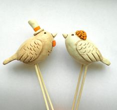 Neutral Birds in Love Wedding cake topper Rustic Wedding Ivory Linen and Tangerine via Etsy